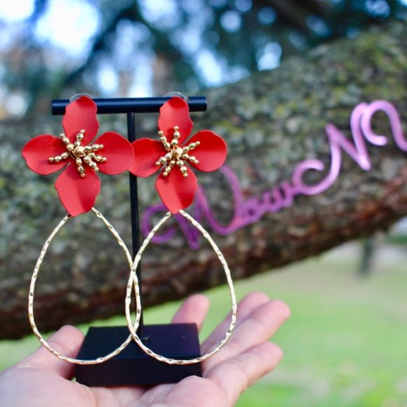 Anthropologie Flower Petals Drop Hoop Earrings